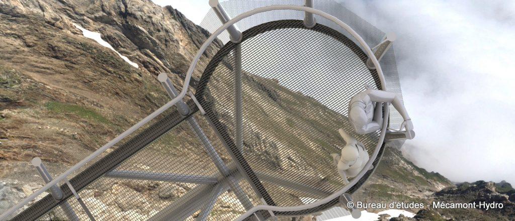 Vue de dessus de l'Hyper-belvédère du Pic du Midi de Bigorre réalisé par Mécamont-Hydro