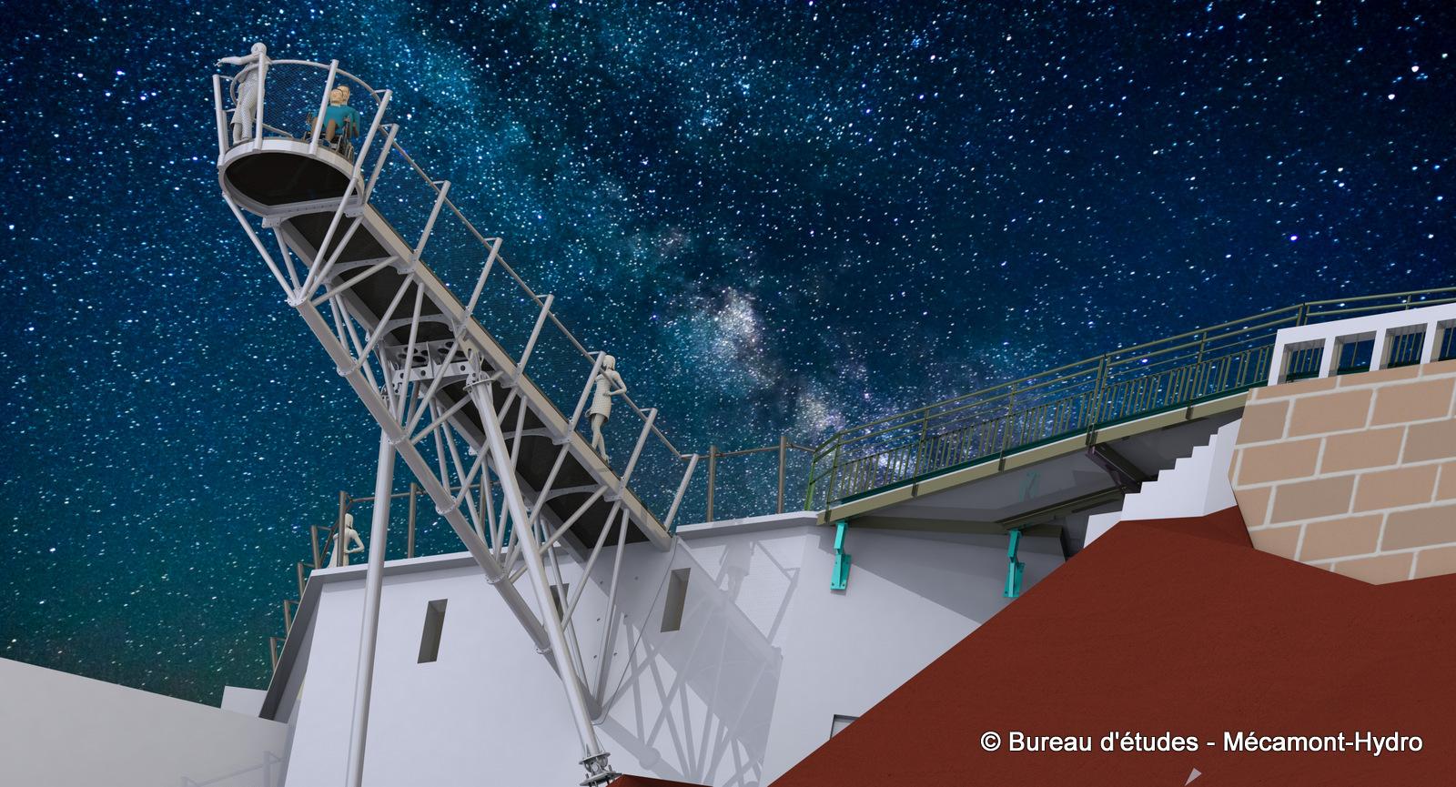 Image de synthèse sur l'Hyper-belvédère du Pic du Midi de Bigorre réalisé par Mécamont-Hydro - vue de nuit