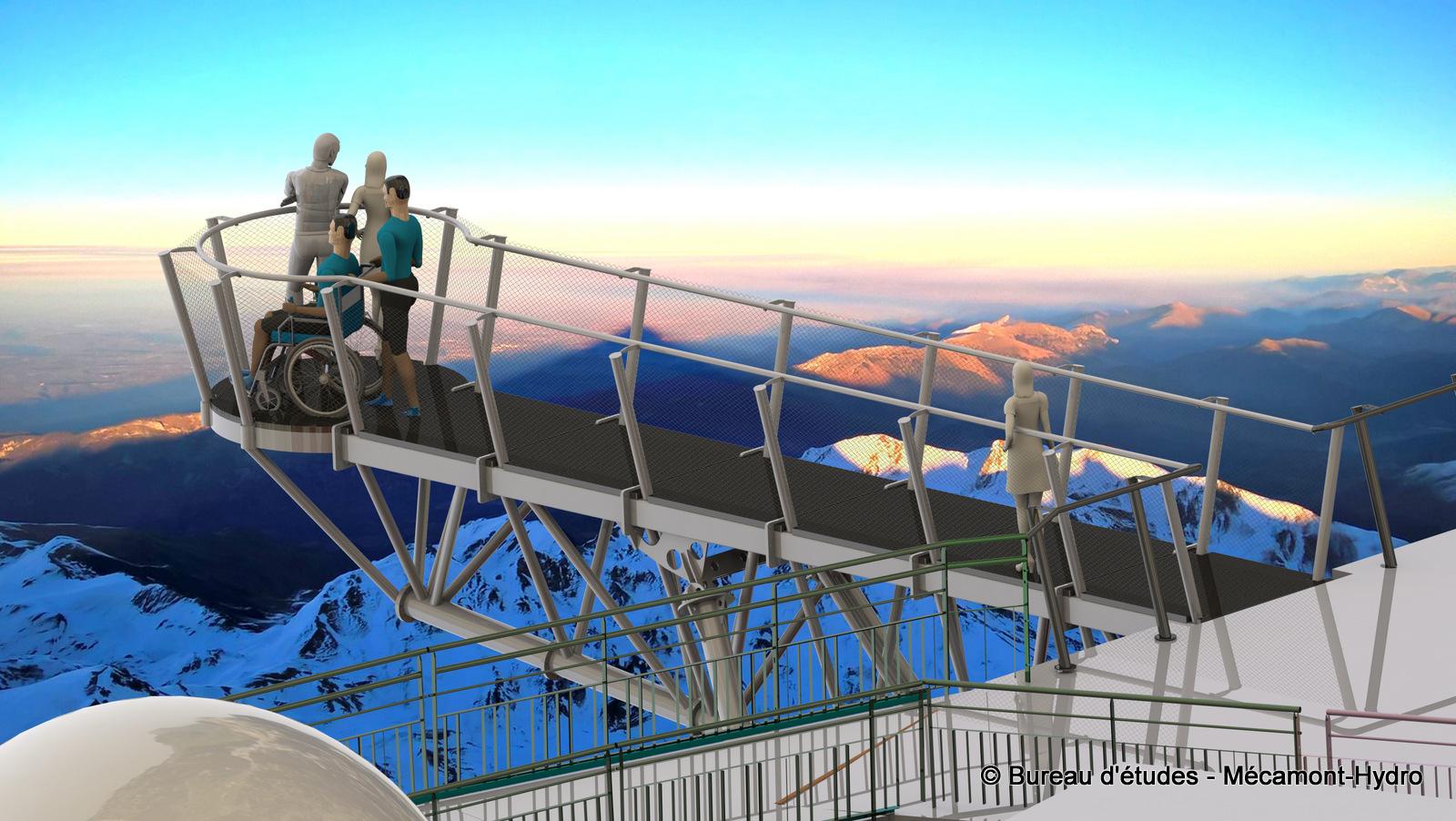 l'Hyper-belvédère du Pic du Midi de Bigorre réalisé par Mécamont-Hydro - vue au couchant