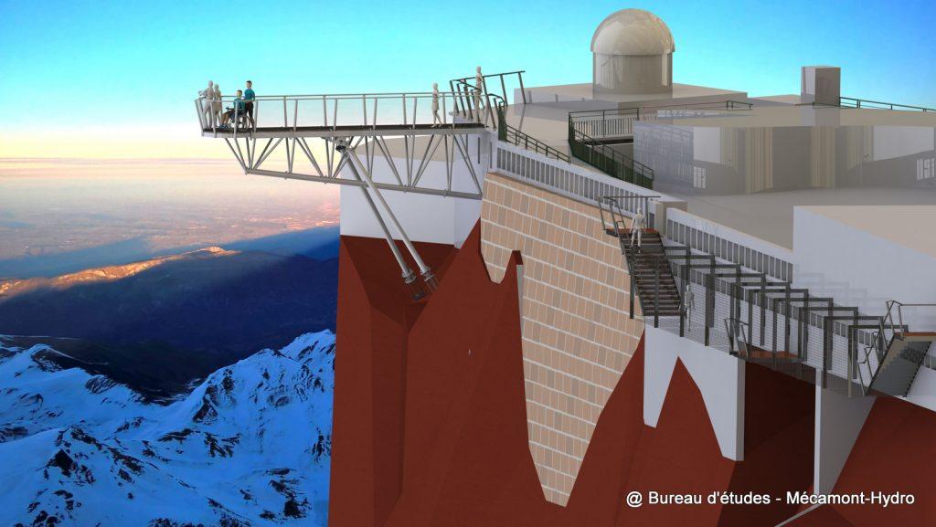 Hyperbelvédère du Pic du Midi de Bigorre qui rappelle le milieu industriel du lieu