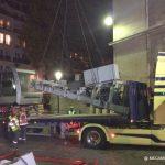 chassis de la cabine du funiculaire de Montmartre positionné sur un camion