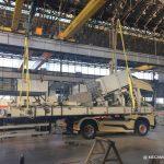 Arrivage du chassis de la cabine du funiculaire dans l'atelier de MECAMONT HYDRO