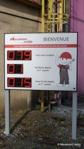 panneau affichant l'état de la sécurité sur l'entreprise Mecamont Hydro