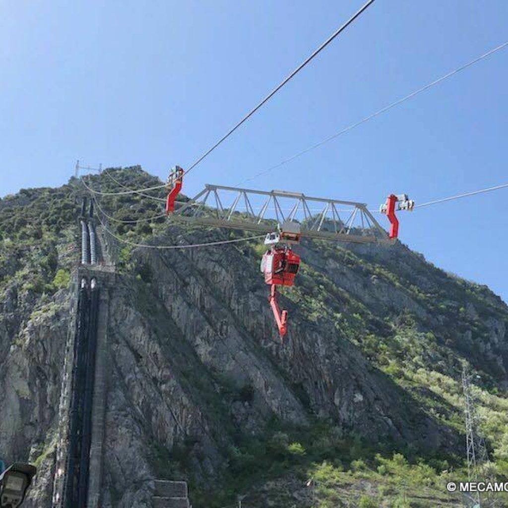 Blondin concu, élaboré et mis en place par MECAMONT HYDRO pour la centrale EDF de Sabart en Ariège