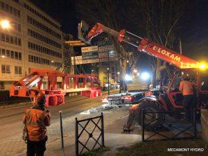 Installation du téléphérique de chantier mecamont hydro à Clichy la Garenne